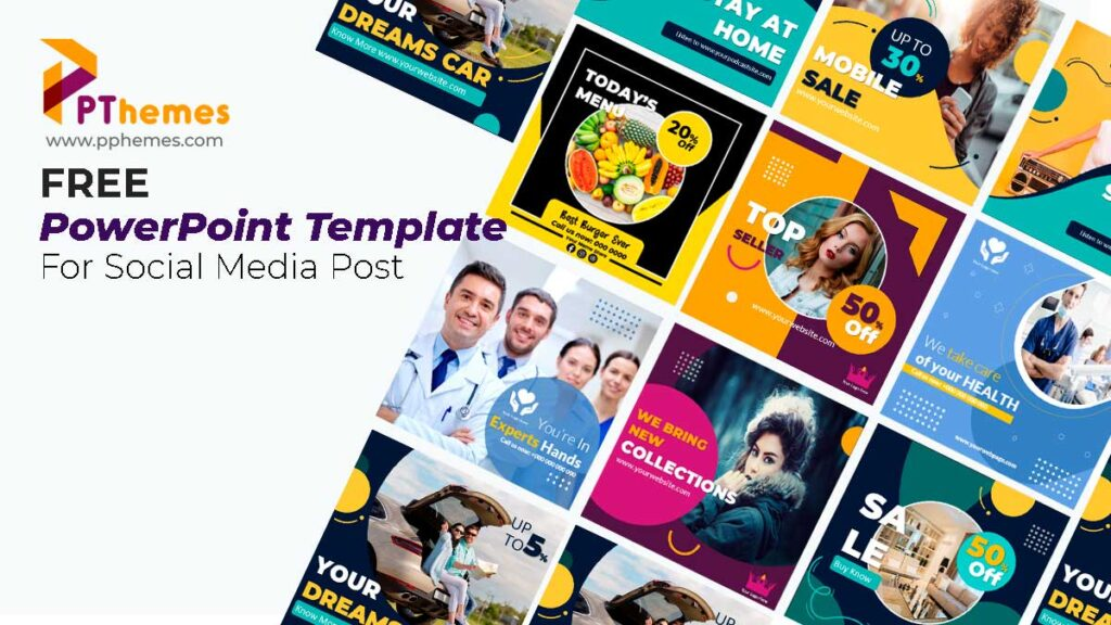 Preview fashion and beauty powerpoint templates for social medias post