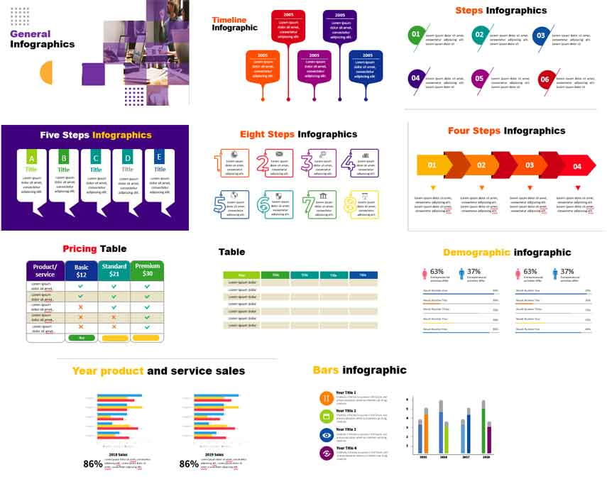 Preview general infographics for powerpoint