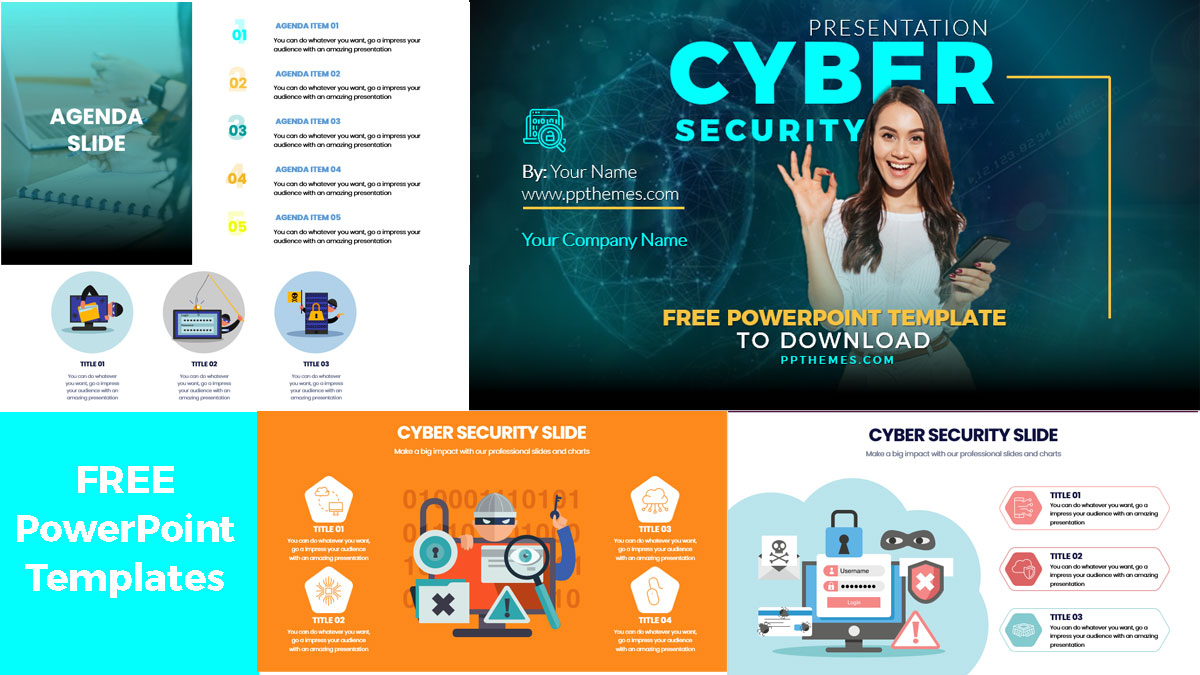 Cyber security presentation template in PowerPoint