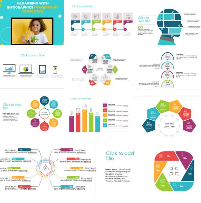 preview e learning with infographics for powerpoint templates