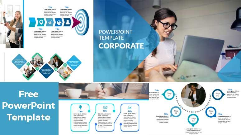 Screenshoot Corporate powerpoiint template blue
