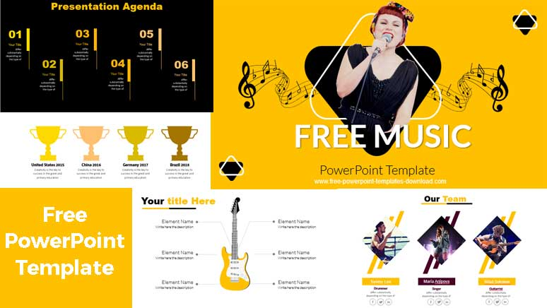 Free music powerpoint template preview