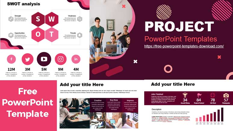 Free project PowerPoint Template preview