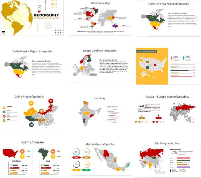 preview Geographic maps powerpoint templates