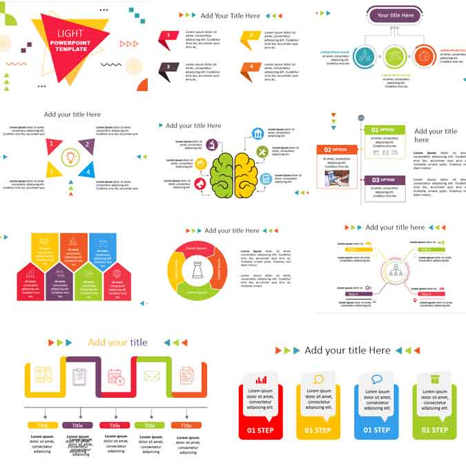preview light infographics powerpoint template