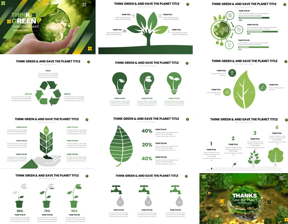 Think Green slides PowerPoint Templates