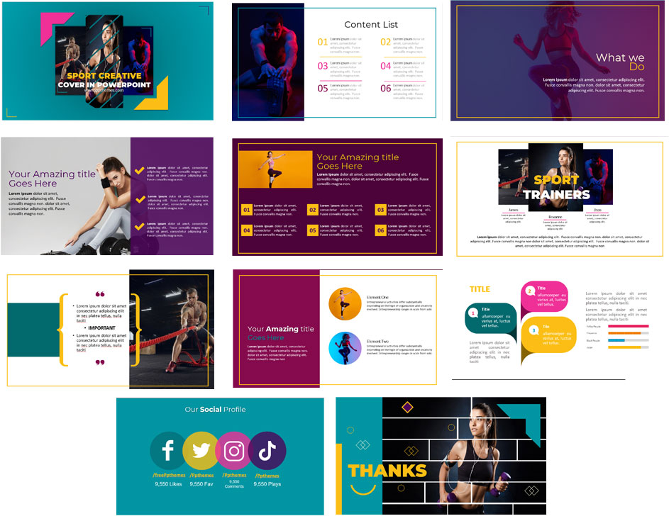 Fitness slides in powerpoint templates