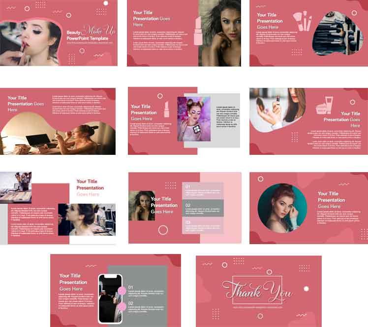 Screenshoot Free beauty makeup powerpoint templates