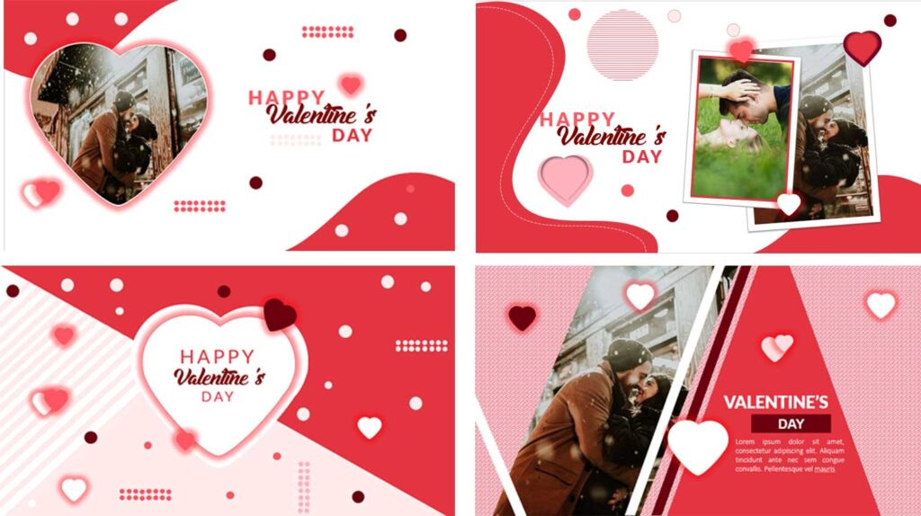 Happy Valentines Card in powerpoint templates to edit