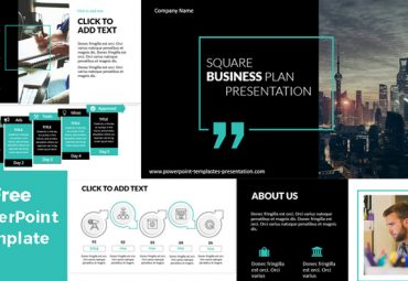 Black free powerpoint template for business with square
