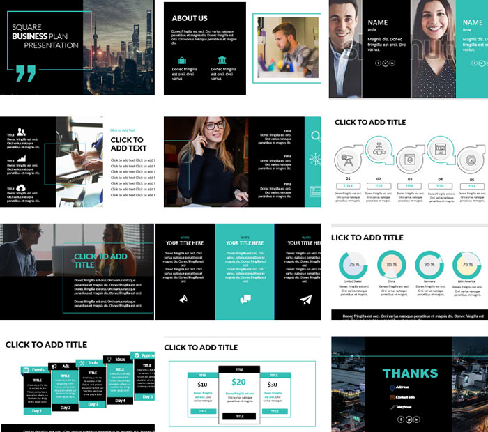 Black free powerpoint template for business with square screenshots