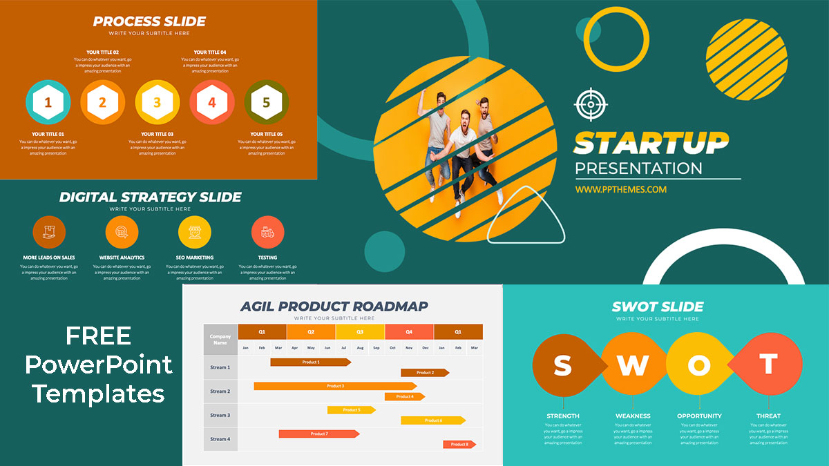 start up template presentation with infographics in powerpoint